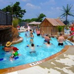 Kids swim in Ocean City waterpark using floating devices