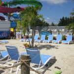 The Picnic Beach lounge area on the beach at OC waterpark