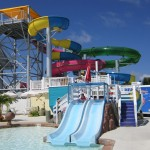 Two slides for young kids to slide down at waterpark