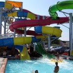 Visitor splashes from waterslide at Ocean City waterpark