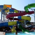 Woman waits at bottom of waterslide at Fenwick Island waterpark