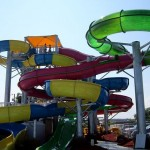 View of the colorful spiral waterslide at Fenwick Island waterpark