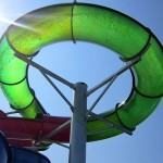Green circular waterslide in Ocean City waterpark