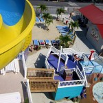 View from waterslide of Picnic Beach and children's slide