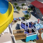View of the children's slide and Picnic Beach from waterslide