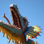 Mini golf decor bright colorful dragon with long tongue