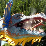 Mini golf decor dragon with rising smoke from nose