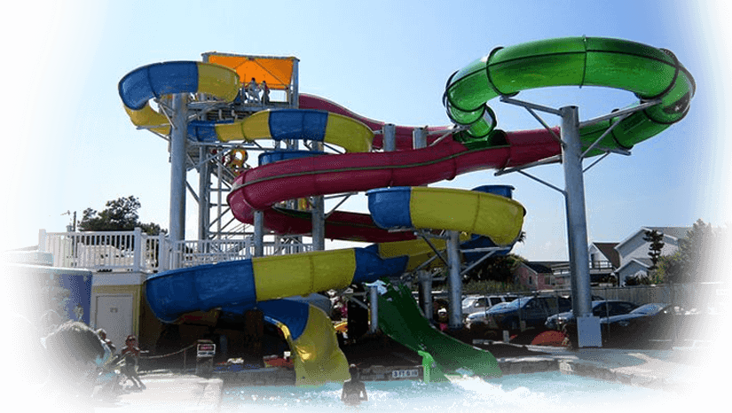 Colorful spiral waterslide at Ocean City waterpark